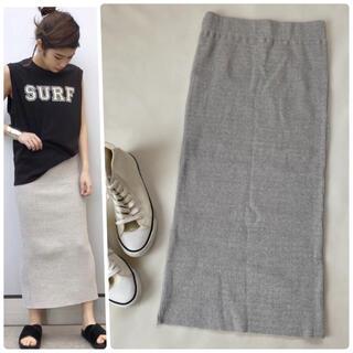 アパルトモンドゥーズィエムクラス(L'Appartement DEUXIEME CLASSE)の美品✨エーピーストゥディオ ロングスカート タイト 日本製 リブ 夏服(ロングスカート)