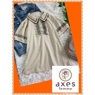 axes femme - アクシーズファム★ボリューム刺繍フリル★パールボタン★ゴルフにも★ポロシャツ
