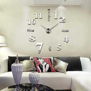 壁時計 ウォールステッカー 静音 DIY シルバー【082】(掛時計/柱時計)