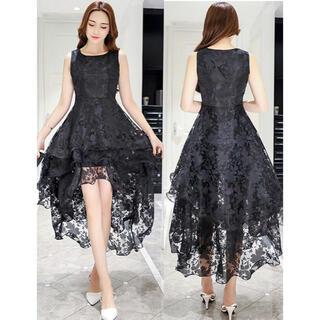 【本日限定セール】ROBE系 韓国ファッション 花柄レースアシメロングドレス