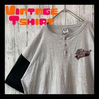 《希少USA製90sT×リアルダメージ》アメリカ古着半袖tシャツヘンリーネック黒(Tシャツ/カットソー(半袖/袖なし))