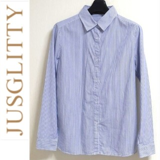 JUSGLITTY - ジャスグリッティー 青ストライプシャツ コットンシャツ Mサイズ