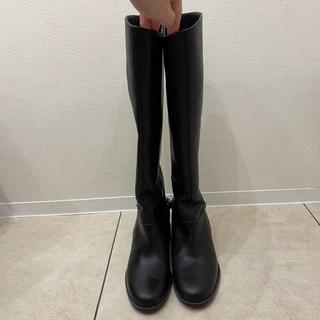 605 美品 クリスチャンルブタン レザー ロングブーツ レディース 黒(ブーツ)