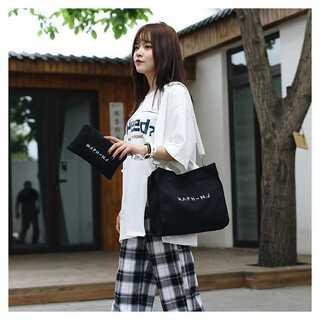 キャンバス トートバッグ ポーチ付き ブラック 【255】(ショルダーバッグ)