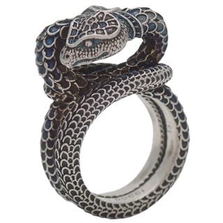 グッチ(Gucci)のグッチ 指輪 ガーデン スネークリング シルバー銀 青 40800058243(リング(指輪))