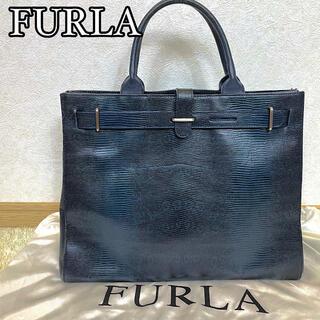 Furla - 【極美品】FURLA トートバッグ クロコ ビジネスバッグ ネイビー A4可