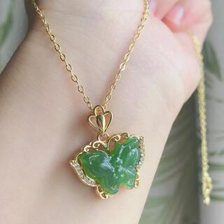天然和田玉碧玉(ホウレンソウ緑)チョウのネックレス