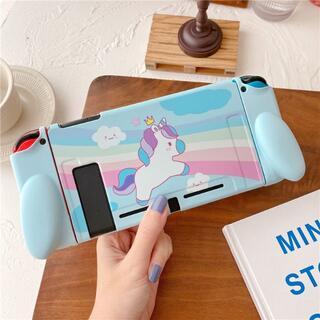 ニンテンドースイッチ(Nintendo Switch)のユニコーン ゆめかわいい ブルー ソフト ハンドル付 保護 カバー RN02(その他)