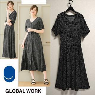 GLOBAL WORK - 美品 サラサラリラックス 半袖 ワンピース 五分袖 ドット ロングワンピース