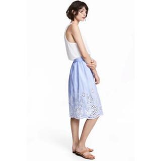 エイチアンドエム(H&M)のH&M イギリス刺繍 ボーダー フレアスカート きれいめ 大人女子 32(ひざ丈スカート)