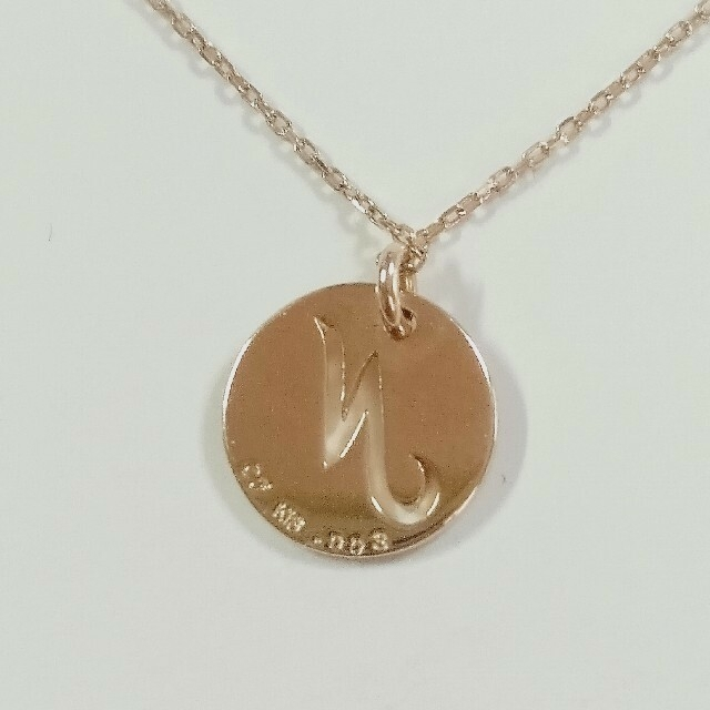 K18ピンクゴールドイニシャルダイヤモンドネックレス レディースのアクセサリー(ネックレス)の商品写真