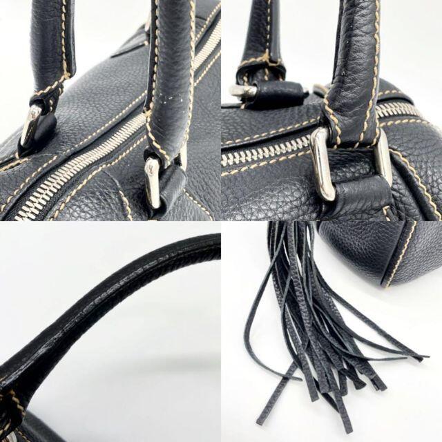 CHANEL(シャネル)の【SALE】シャネル ロゴ ミニボストンバッグ フリンジ レザー 黒 1Q14 レディースのバッグ(ショルダーバッグ)の商品写真
