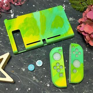 ニンテンドースイッチ(Nintendo Switch)の水彩 タイダイ Switch ソフト 保護 カバー グリーン RN04(その他)