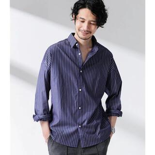 nano・universe - ナノユニバース 大人のワイドシャツ ワイドシャツ ストライプ  リネンシャツ