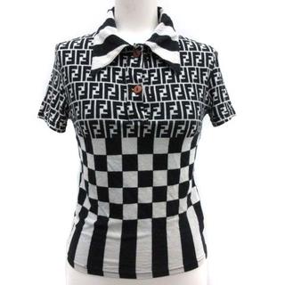フェンディ(FENDI)のフェンディ ポロシャツ  総柄 ズッカ柄 ブロック ボーダー 切替 黒 白(その他)