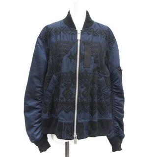 sacai - サカイ 2018年製 2 M MA-1 ミリタリージャケット ブルゾン 刺繍 紺