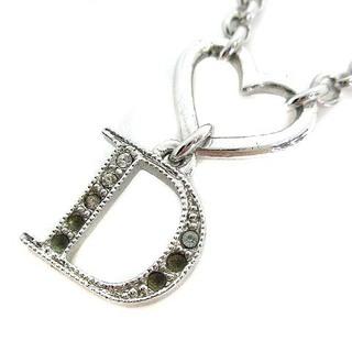 クリスチャンディオール(Christian Dior)のクリスチャンディオール ネックレス ペンダント ハート D ストーン シルバー色(ネックレス)
