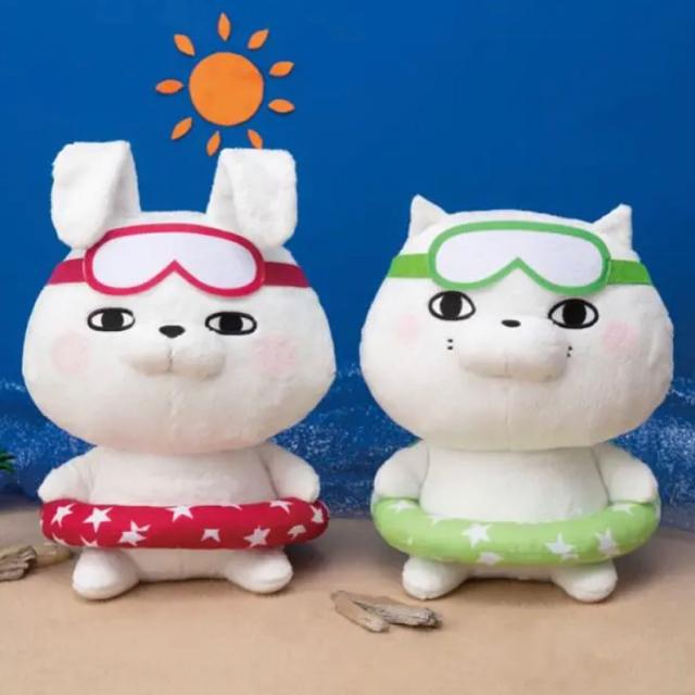 ヨッシースタンプ ぬいぐるみ うきわ BIG 浮き輪 夏 猫 ウサギ エンタメ/ホビーのおもちゃ/ぬいぐるみ(ぬいぐるみ)の商品写真