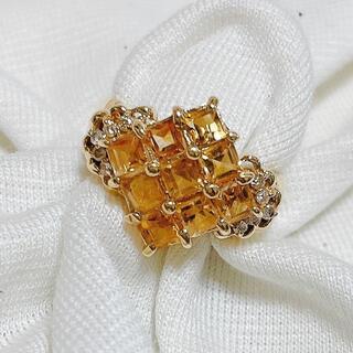 ジュエリーマキ - ジュエリーマキ k18 指輪 リング シトリン ダイヤ