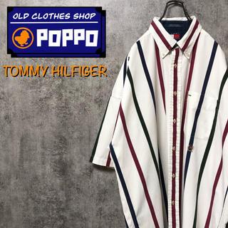 TOMMY HILFIGER - トミーヒルフィガー☆オールド刺繍ロゴ半袖カラーストライプシャツ 90s
