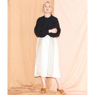アトリエドゥサボン(l'atelier du savon)のcaph サテンデシン カレンダー加工 プリーツMIXスカート(ひざ丈スカート)