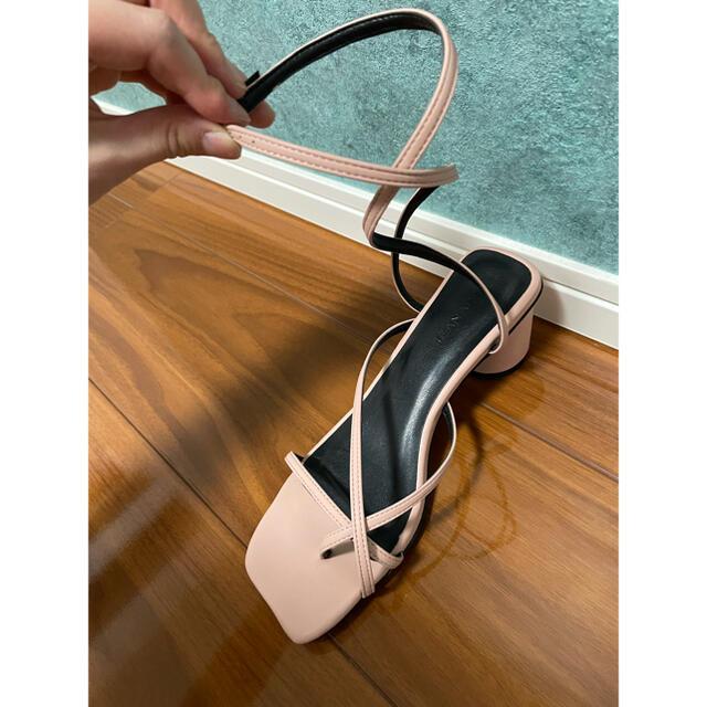 JEANASIS(ジーナシス)のJEANASiS ジーナシス レースアップ 編み上げ サンダル スクエアトゥ M レディースの靴/シューズ(サンダル)の商品写真
