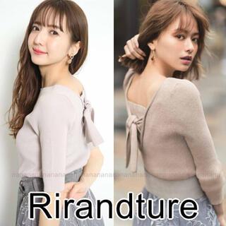 Rirandture - 新品 リランドチュール 5分袖 バックリボン リブニット 雑誌掲載 山本舞香