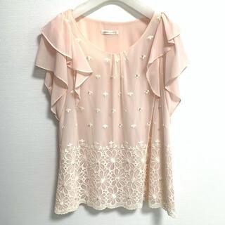 美品♡ 新品♡ シフォンブラウス レース パール ピンク♡(シャツ/ブラウス(半袖/袖なし))