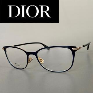 Christian Dior - ディオール ブルー ゴールド メガネ レクタンギュラー メタル 青 金 度付き
