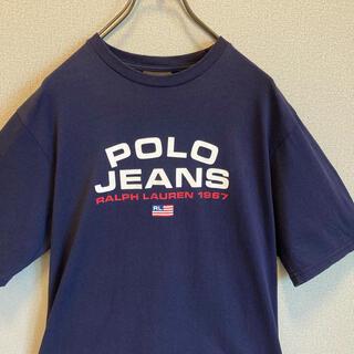 ポロラルフローレン(POLO RALPH LAUREN)の90s ポロジーンズ ラルフローレン プリント Tシャツ ネイビー ゆるだぼ(Tシャツ(半袖/袖なし))