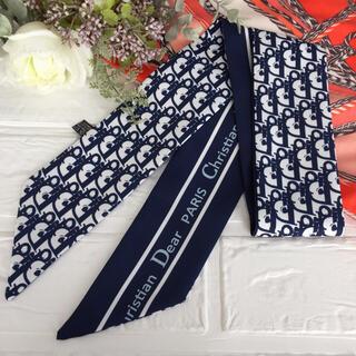 🌸特別価格🌸 リボンスカーフ バッグスカーフ ネイビー D17