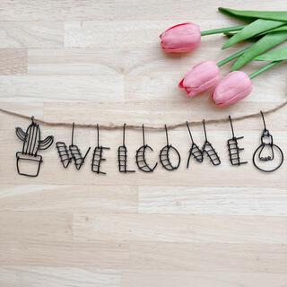 ウェルカム welcome ガーランド サボテン 電球 ワイヤークラフト (アート/写真)