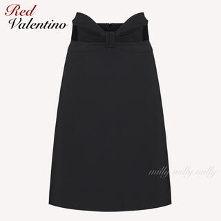 レッドヴァレンティノ(RED VALENTINO)の【RED VALENTINO】2020タキシードリボンスカート(ひざ丈スカート)
