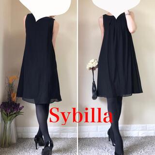 Sybilla - 美品!シビラ 定価3.9万円 シフォンレイヤード Aライン ワンピース M 黒