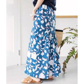 IENA - 2021SS IENA バイカラーフラワーバックフレアスカート