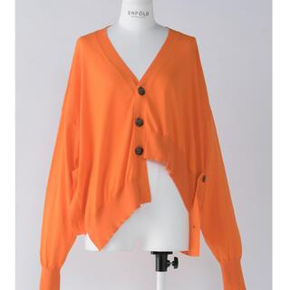 エンフォルド(ENFOLD)のenfold asymmetry cardigan オレンジ(カーディガン)