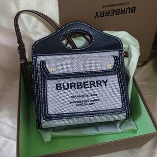 バーバリー(BURBERRY)のミニ トライカラー コットンキャンバス&レザー ポケットバッグ(ショルダーバッグ)
