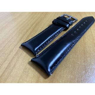 ブラック 新喜皮革 コードバン 時計ベルト ラグ幅21mm 21x18mm 馬革(レザーベルト)