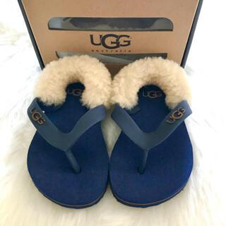 UGG - 美品 ugg ベビーサンダル 青 ファー 夏 靴 ベビー サンダル  赤ちゃん