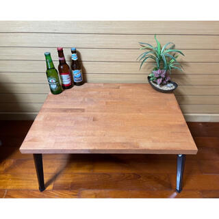 木目調センターテーブル メープル ローテーブル   棚 収納可能 お洒落家具(ローテーブル)