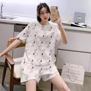 新品 L半袖 スヌービー柄ルームウェア パジャマ Tシャツ 部屋着