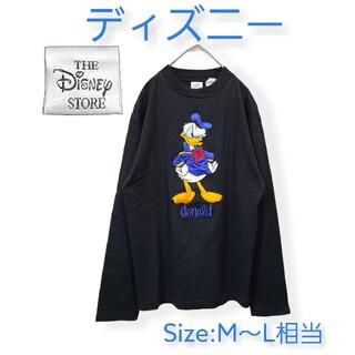 大きい刺繍のビッグロゴ❤【ディズニー】❤ドナルドダック❤丸襟・長袖Tシャツ