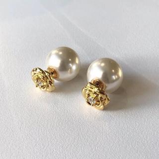 アーカー(AHKAH)のcamellia pearl pierce 18k coating & s925(ピアス)