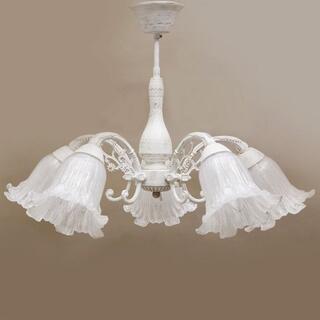 シャンデリア5灯 アンティーク照明 ホワイト 天井照明 ヨーロッパ 照明器具  (天井照明)
