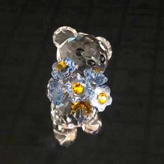 スワロフスキー(SWAROVSKI)のスワロフスキー  置物 クリスベア クマ 忘れな草(置物)