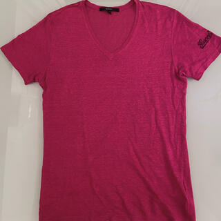グッチ(Gucci)のGUCCI リネン100%Tシャツ (チェリーレッド)(Tシャツ/カットソー(半袖/袖なし))