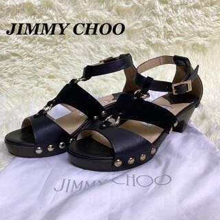 JIMMY CHOO - JIMMY CHOO サンダル スタッズ ウッドソール レザー 黒 22.5