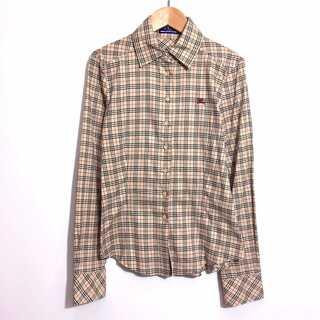 BURBERRY - 美品 バーバリーブルーレーベル ノバチェック シャツ ホースマーク刺繍