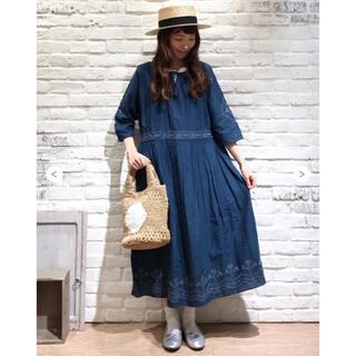 SM2 - サマンサモスモス お花刺繍ワンピース ブルー