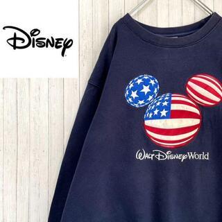 ディズニー(Disney)のディズニー トレーナー スウェット ネイビー フロッキー刺繍 ビッグロゴ L(スウェット)